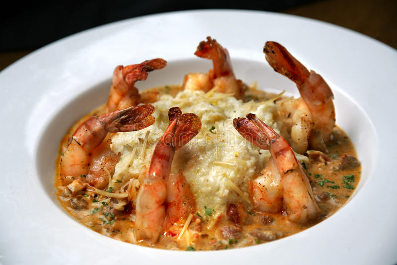 Shrimp and Grits in White Bowl stock photos