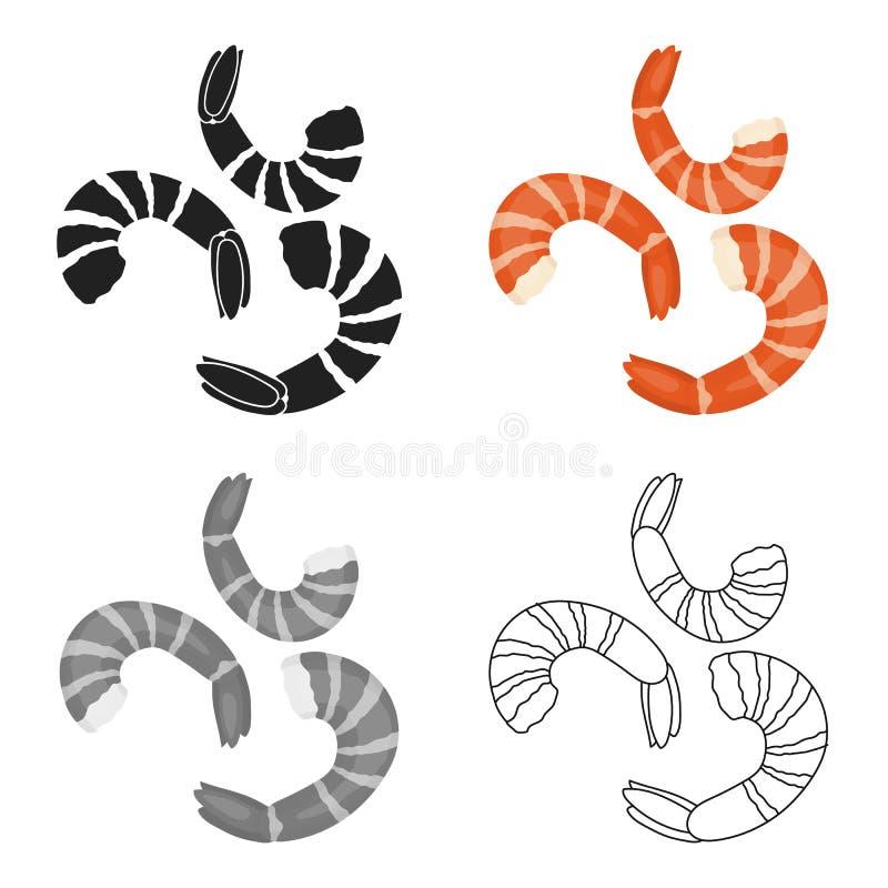 Shrimp icon in cartoon style isolated on white background. Sushi symbol stock vector illustration. Shrimp icon in cartoon style isolated on white background vector illustration