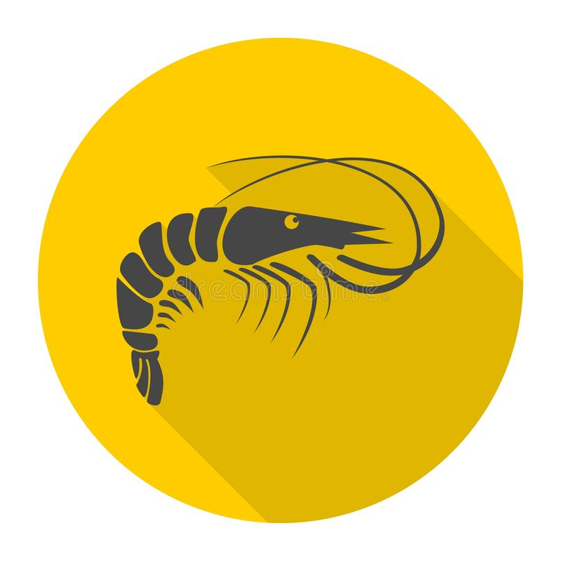 Shrimp icon with long shadow royalty free illustration