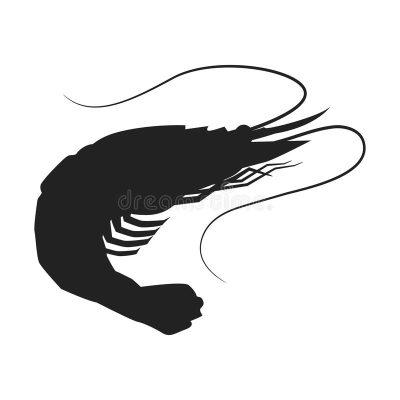 Shrimp icon, Shrimp silhouette isolated vector illustration. royalty free illustration