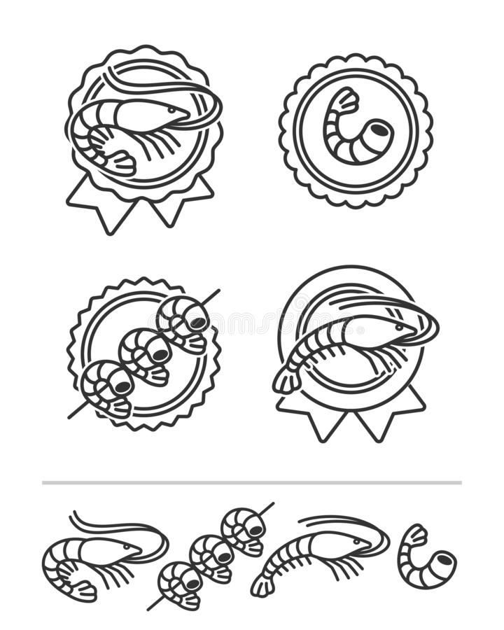 Shrimp labels and elements set. Collection icon shrimp. Vector stock photography