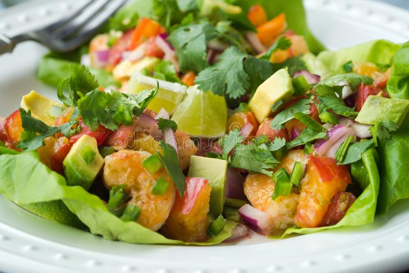 Summer Shrimp and Nectarine Lettuce Cups royalty free stock photography