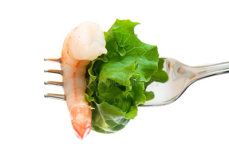 Download Shrimp and lettuce on fork stock image. Image of crustaceans - 4896237