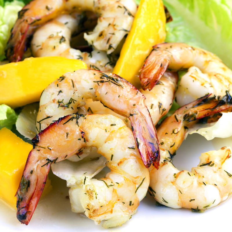 Shrimp and Mango Salad royalty free stock photos