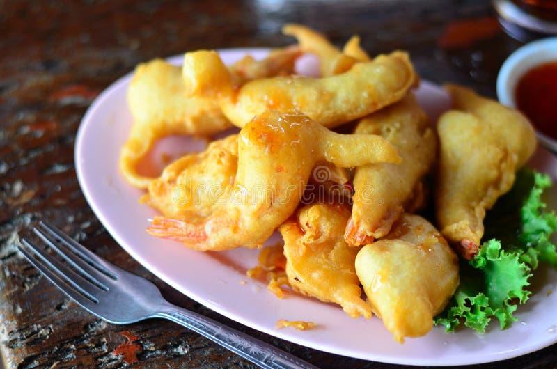 Shrimp meat ball. Deep fried shrimp meat ball on wooden table stock photo
