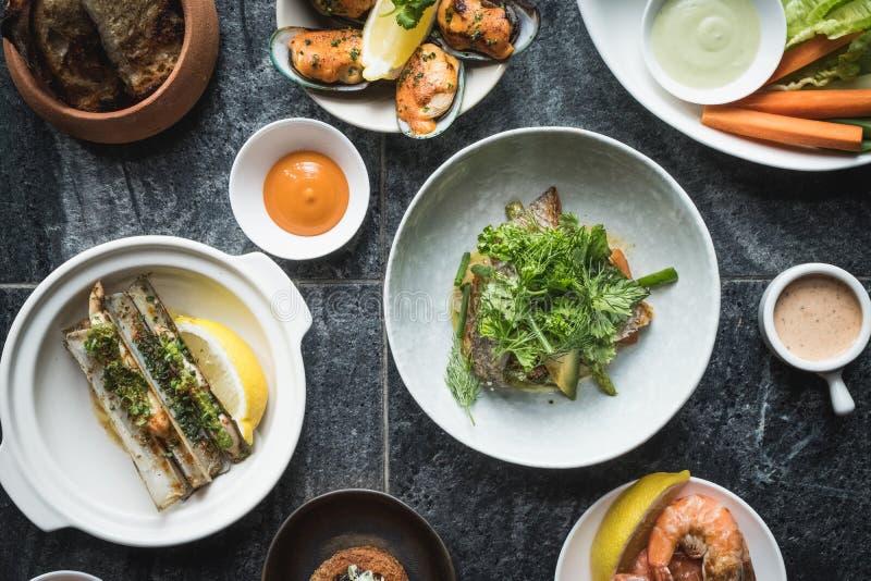 Mix of Seafood Set Menu fresh stock photography