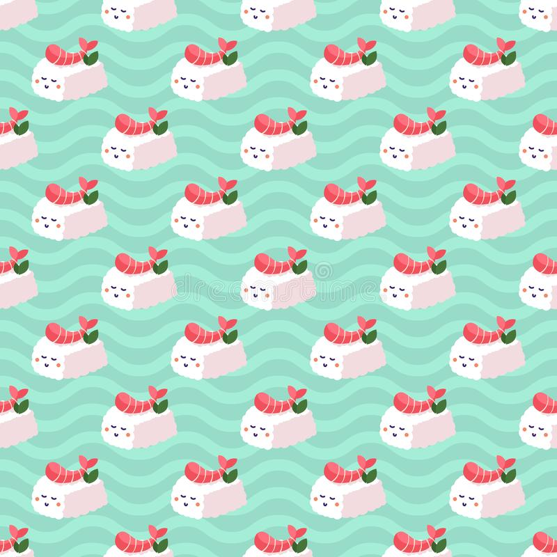 Shrimp nigiri sushi seamless vector pattern on japanese wave background. vector illustration