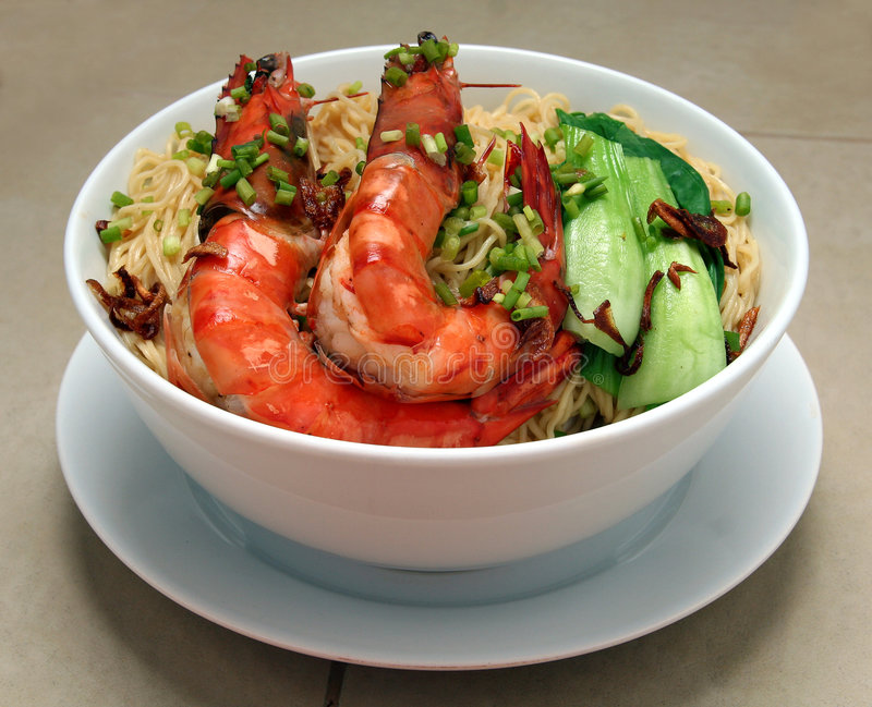 Shrimp noodles. On a bowl stock photos