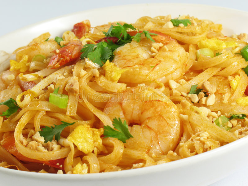 Shrimp Pad Thai. Pad Thai with shrimp, a popular Thai noodle dish stock image