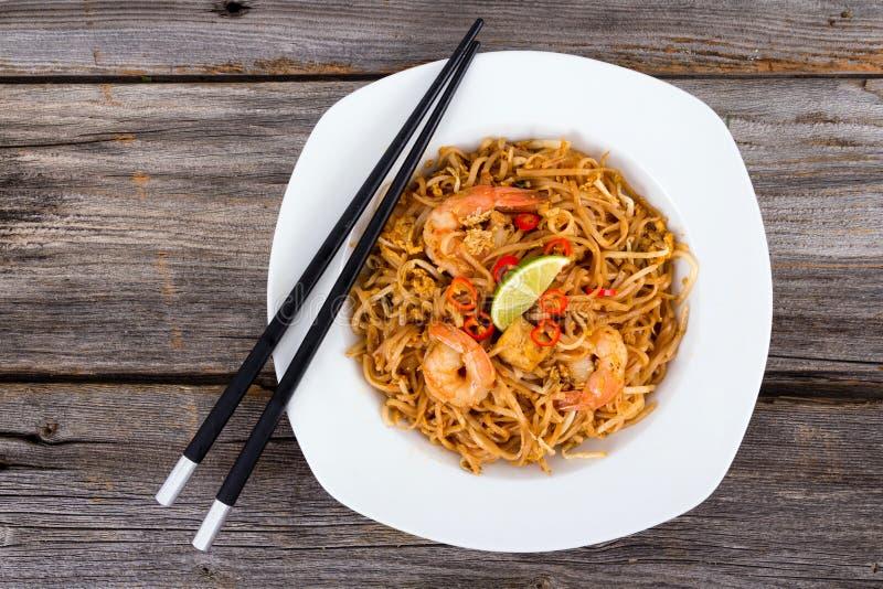 Shrimp Pad Thai. Noodle closeup royalty free stock photo