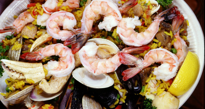 Shrimp Paella royalty free stock photo