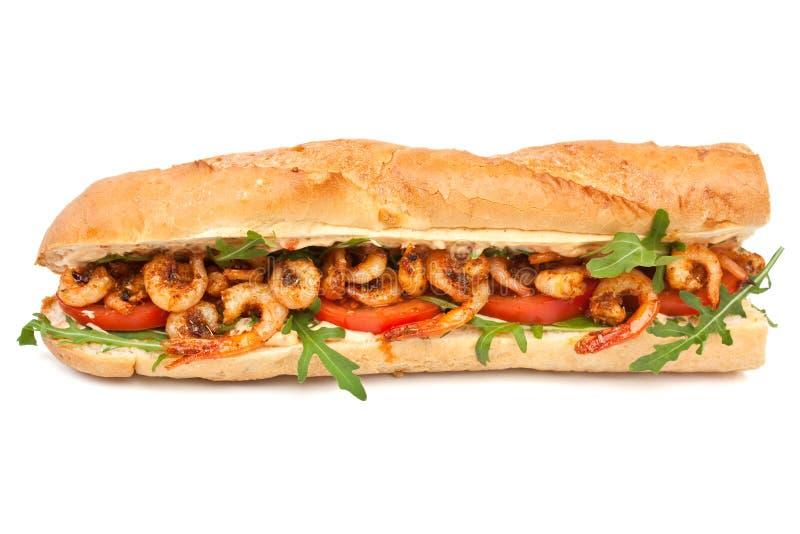 Shrimp Po-Boy Sandwich. With Rocket and Tomato Isolated royalty free stock image