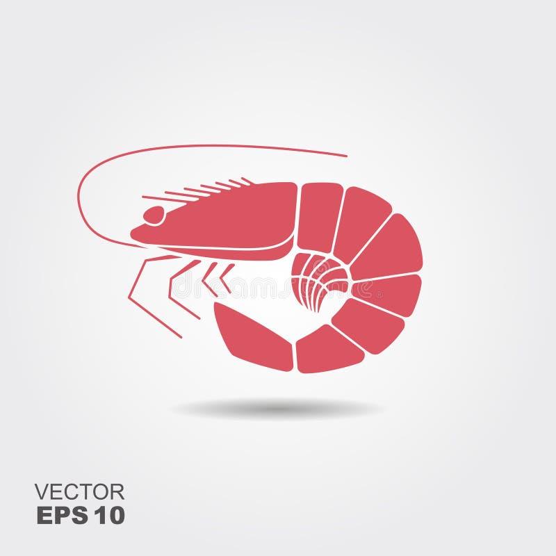 Shrimp Flat Icon royalty free illustration