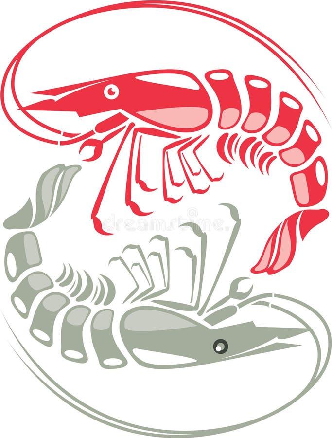 Shrimp raw cooked. Illustration clip-art vector eps vector illustration