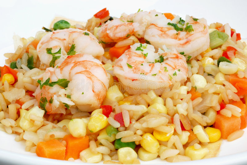 Shrimp and rice royalty free stock photo