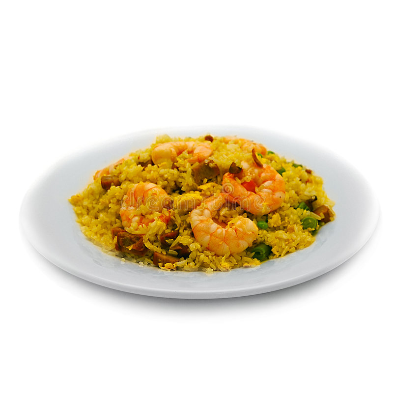 Shrimp Rice and Beef stock photo
