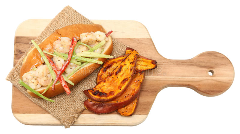 Shrimp Roll and Sweet Potato Wedges stock photography