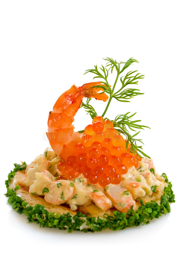 Free Shrimp Salad And Red Caviar Royalty Free Stock Image - 12475066