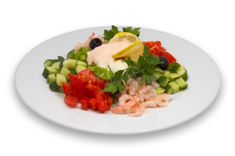 Shrimp salad with vegetables stock photos