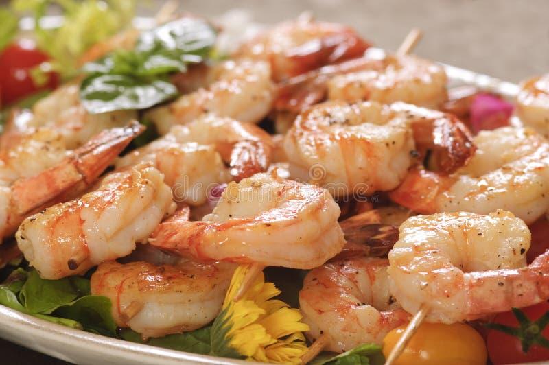 Shrimp on a skwer royalty free stock images