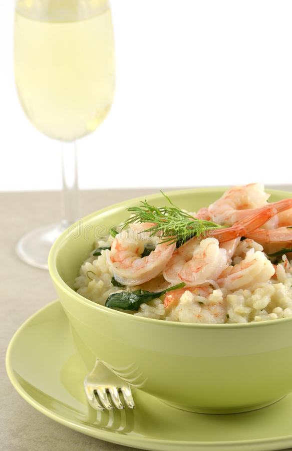 Shrimp And Spinach Risotto Stock Photo