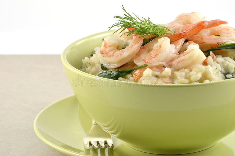 Download Shrimp and Spinach Risotto stock image. Image of bowl - 23649777