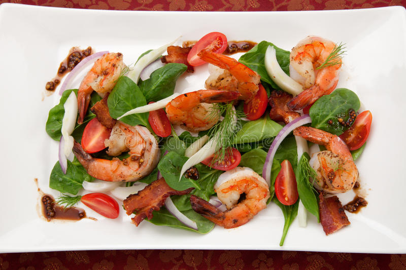 Download Shrimp and Spinach Salad stock photo. Image of mustard - 22966184