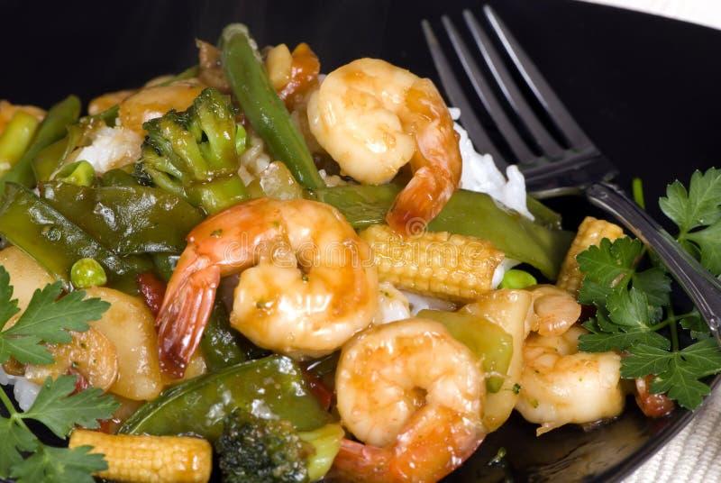 Shrimp Stir fry over rice 2 royalty free stock photography