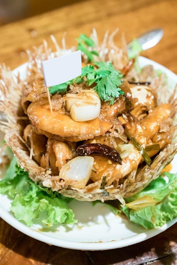 Shrimp with Tamarind sauce. Fried Shrimp with Tamarind sauce royalty free stock photo