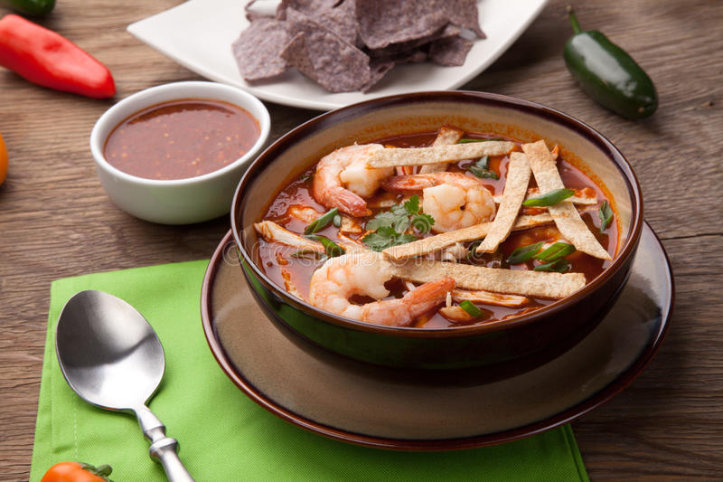 Download Shrimp Tortilla Soup stock photo. Image of soups, cooked - 90693932
