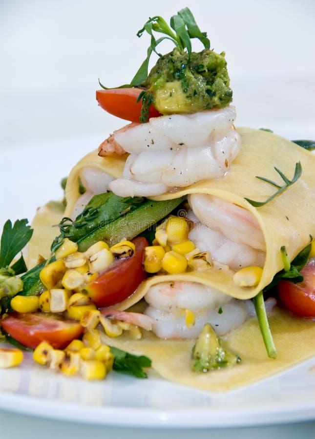 Shrimp and vegetable lasagna royalty free stock image