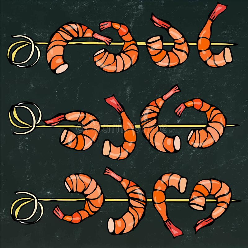 Shrimp on Wood Stick, Prawn Kebab, Seafood BBQ, Canapes. Isolated On a Chalkboard Background Doodle Cartoon Vintage Hand. Isolated On a Chalkboard Background vector illustration