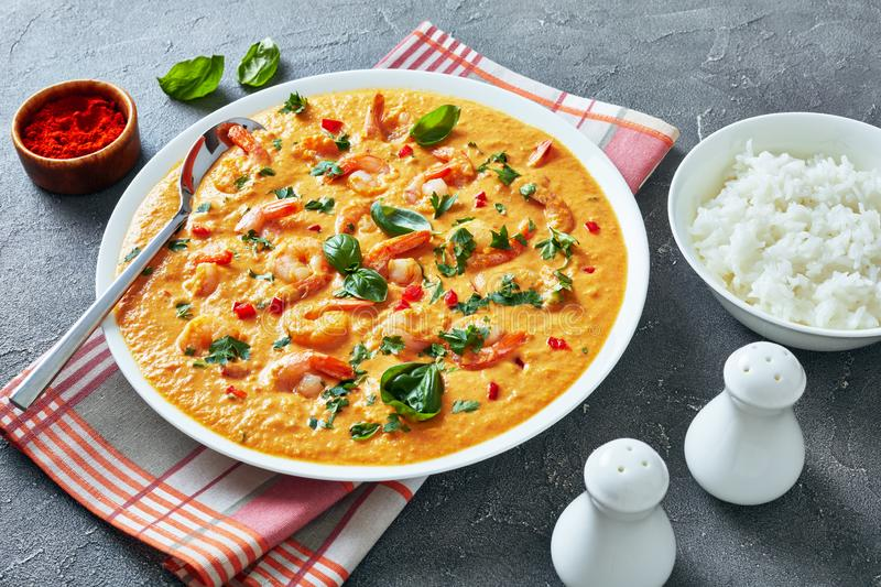 Creamy Shrimps in Coconut Sauce with rice. Shrimps in Coconut Sauce with blended vegetables in a bowl served with rice, on a concrete table, camarao no leite de royalty free stock photography