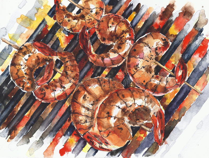 Shrimps cooking grilling grilled grill charcoal grill watercolor painting illustration on white backgroun. Shrimps cooking grilling grilled grill charcoal grill stock illustration