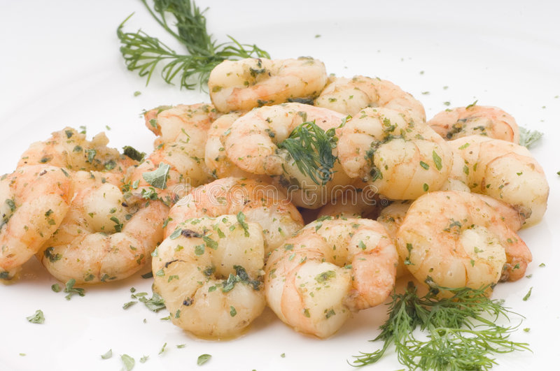 Shrimps and herbs