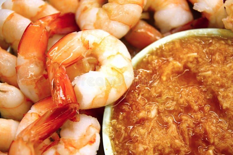 Shrimps with horseradish sauce stock photo