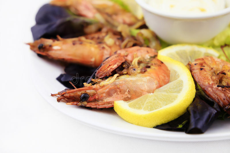 Shrimps, seafood background. royalty free stock images
