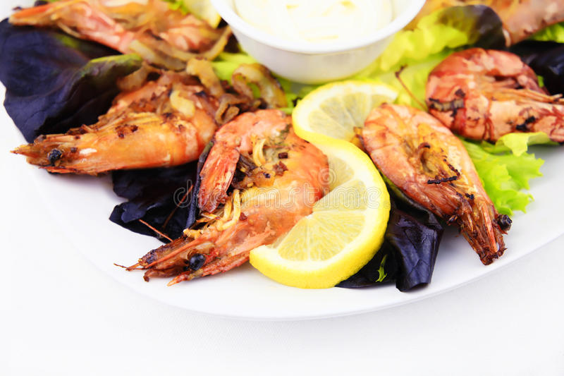 Shrimps, seafood background. stock photography