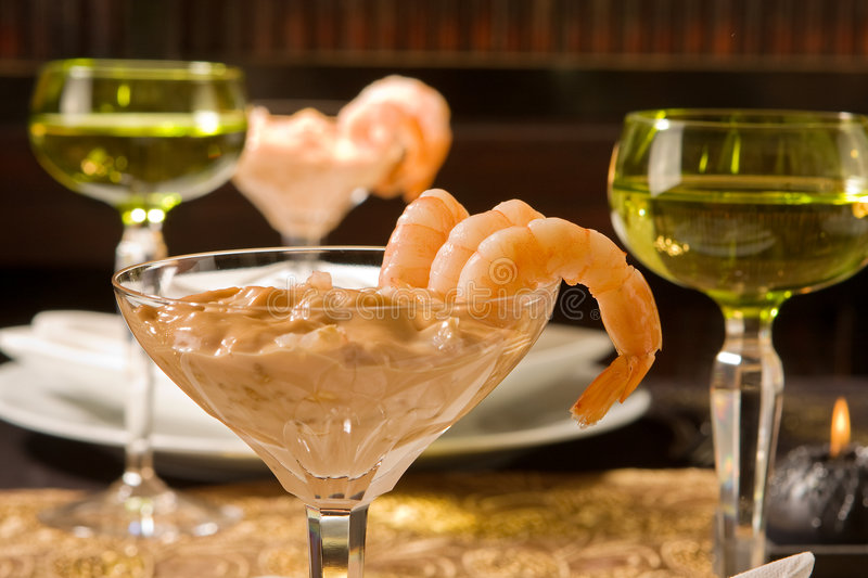 Shrimps and wine stock photo