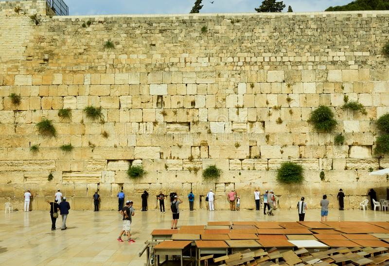 Shrine of the believers of the Jews eastern wall wall of crying. The Shrine of the Believers of the Jews East Wall Wailing Wall in Jerusalem Israel royalty free stock image