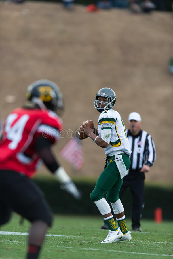 Shrine Bowl of the Carolinas. Spartanburg, SC - December 21, 2013 North Carolina QB Jalen McClendon looks for a reciever down field royalty free stock photos