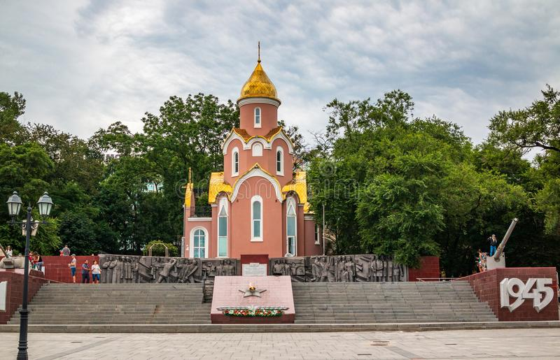 Shrine Chapel of St. Andrew and Eternal flame on the Memorial Fighting glory of the Pacific Fleet on the ship`s stock photography