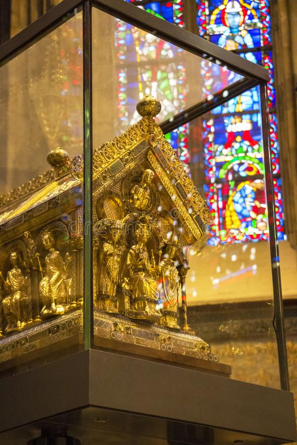 The Shrine of Charlemagne in the Gothic choir of the Aachen Cathedral, front gable end, Aachen Germany. AACHEN, GERMANY - September 20, 2016: The Shrine of stock photos