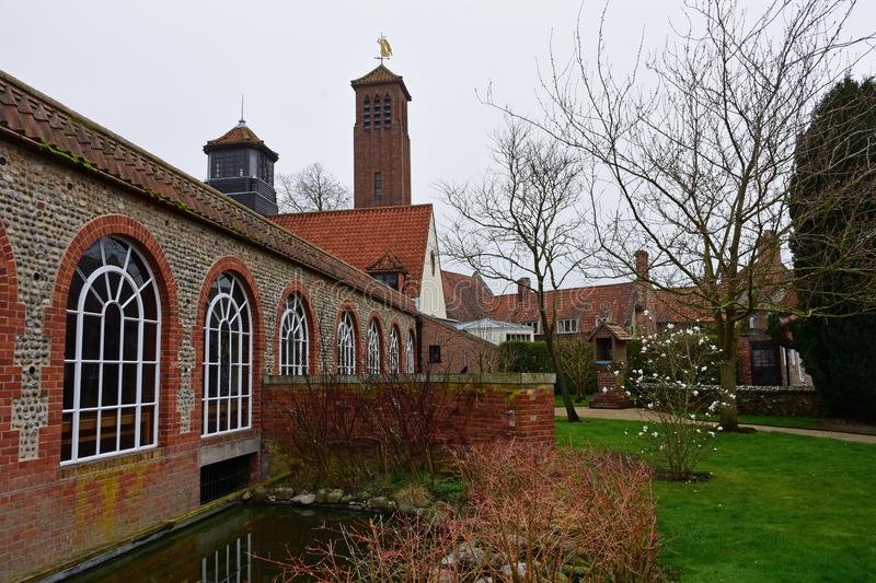 The Shrine Church of Our Lady of Walsingham, England. The Shrine Church of Our Lady of Walsingham is situated in beautiful grounds close to the centre of the stock photos