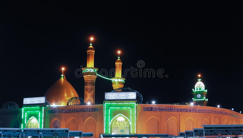 Shrine of Imam Hussain ibn Ali at night, Karbala Iraq. Shrine of Imam Hussain ibn Ali at night, Karbala, Iraq royalty free stock images