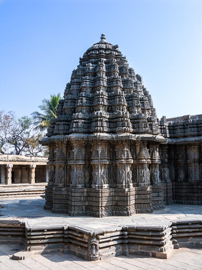 The Shrine of Keshava. The outside of one of the shrines of Keshava at the 13th Century temple of Somanathapur, Karnataka, South India stock photos
