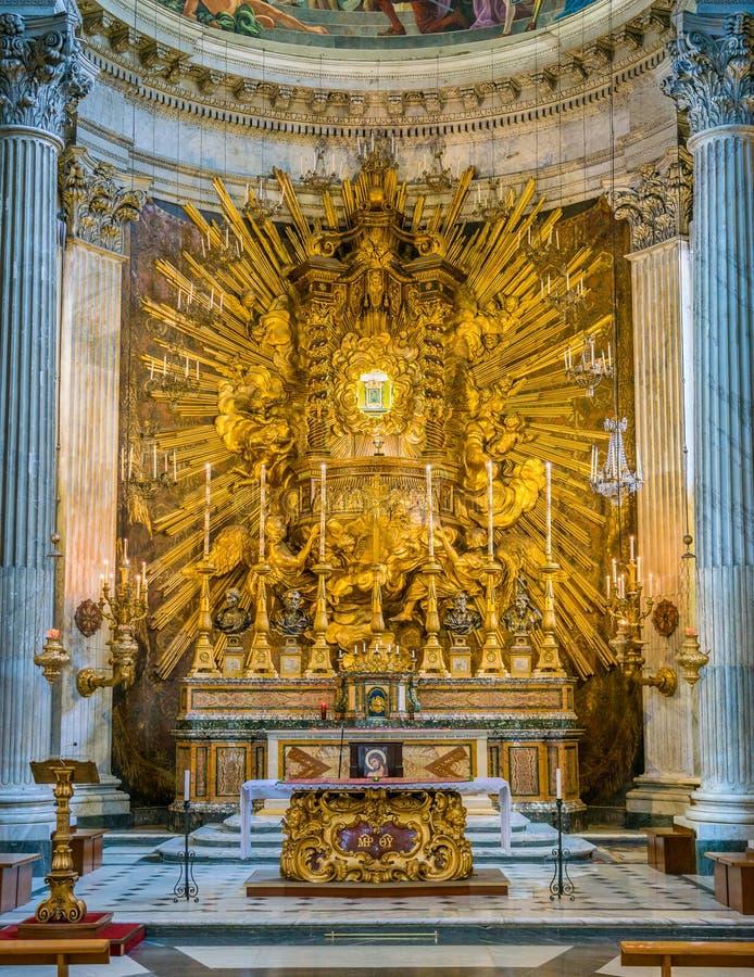 Shrine of the `Madonna del Portico` in the altar of the Church of Santa Maria in Portico in Campitelli in Rome, Italy. Santa Maria in Campitelli or Santa Maria stock photography