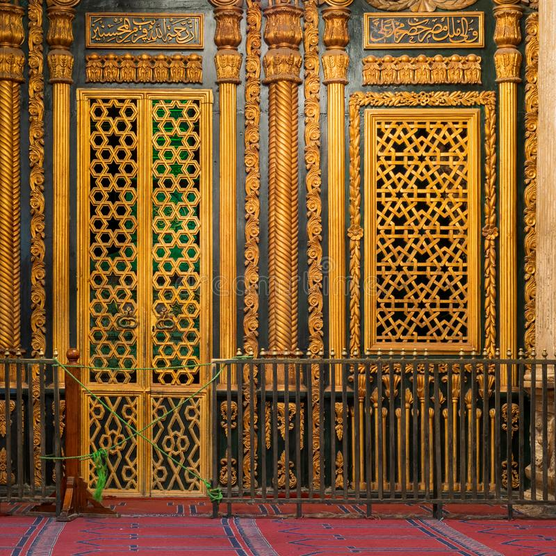 Shrine of Muhammad Ali with golden decorations, Mosque of Muhammad Ali, Citadel of Cairo, Egypt. Tomb -Shrine - of Muhammad Ali Pasha with floral and geometric royalty free stock image