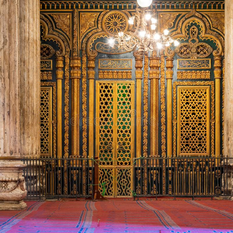 Shrine of Muhammad Ali with golden decorations, Mosque of Muhammad Ali, Citadel of Cairo, Egypt. Tomb -Shrine - of Muhammad Ali Pasha with floral and geometric stock photos