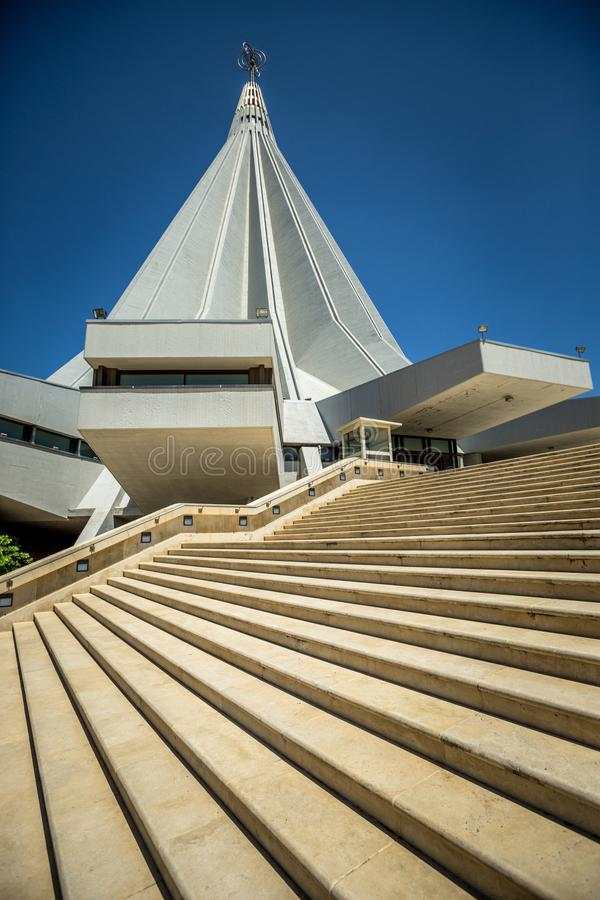 Shrine of our Lady of Tears, Syracuse Sicily. Modern Cathedral design stock photos